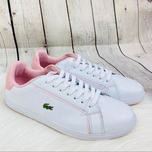 New Lacoste Leather Sneakers White Baby Pink SZ 10